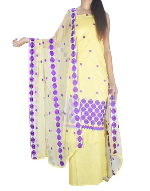 Unstitched Phulkari Suit Piece Cotton Silk-Cream Yellow
