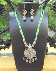 Oxidized Metal Threaded Necklace Set -Light Green