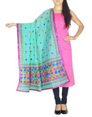 Chanderi Phulkari/Bagh Dupatta & Cotton Kurta Set-Pink&Sea Green