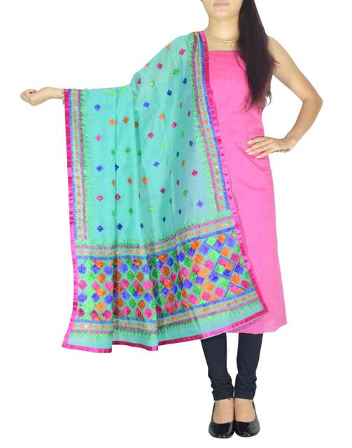 Chanderi Phulkari/Bagh Dupatta & Cotton Kurta Set-Pink&Sea Green