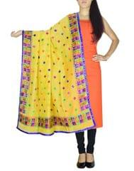 Chanderi Phulkari/Bagh Dupatta & Cotton Kurta Set-Orange&Yellow