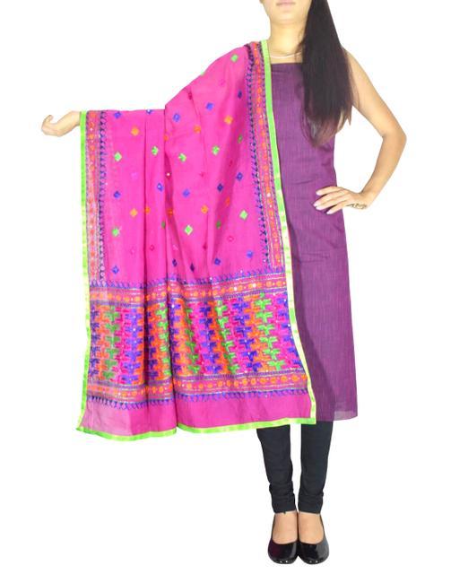 Chanderi Phulkari/Bagh Dupatta & Cotton Kurta Set-Multicolor