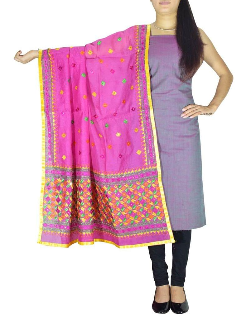Chanderi Phulkari/Bagh Dupatta & Cotton Kurta Set-Pink&Green
