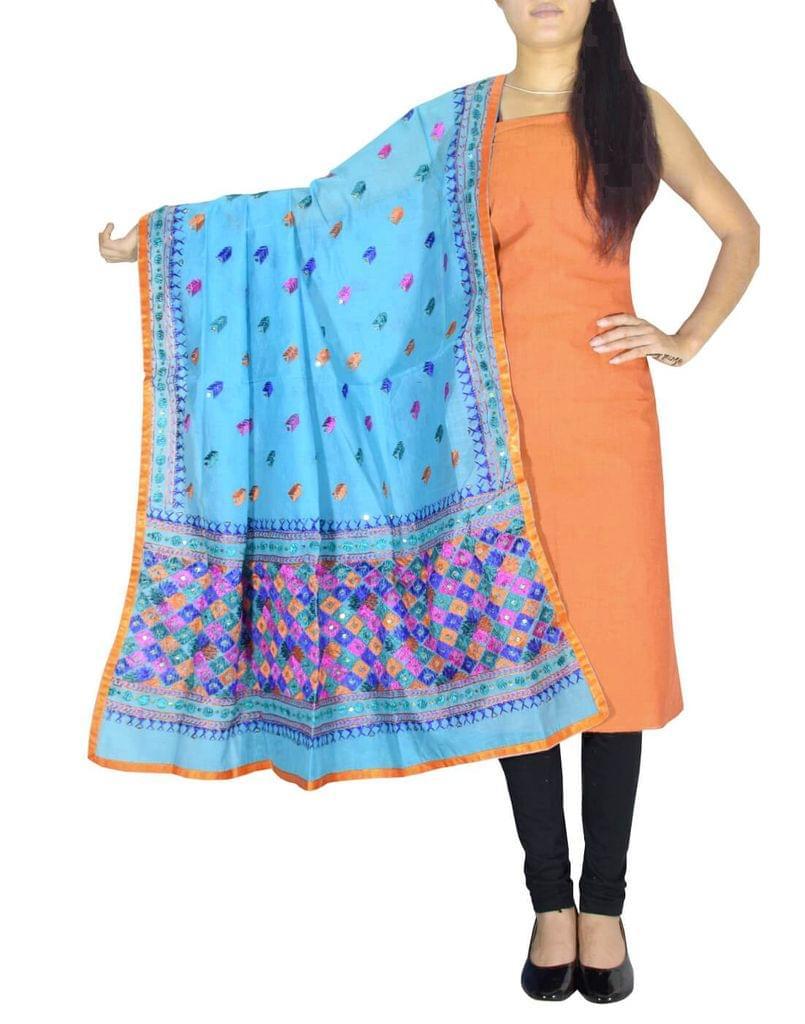 Chanderi Phulkari/Bagh Dupatta & Cotton Kurta Set-Orange&Turquoise