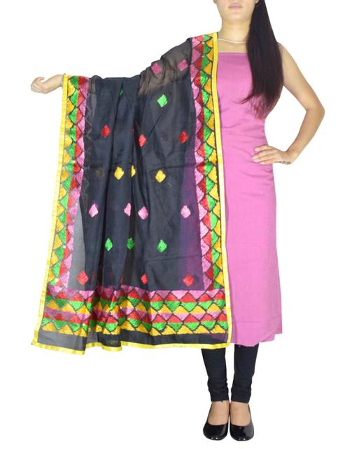 Chanderi Phulkari/Bagh Dupatta & Cotton Kurta Set-Light Pink&Black