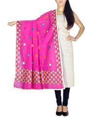 Chanderi Phulkari/Bagh Dupatta & Cotton Kurta Set-Offwhite&Pink