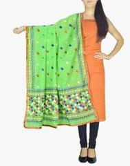 Chanderi Phulkari/Bagh Dupatta & Cotton Kurta Set-Green&Orange