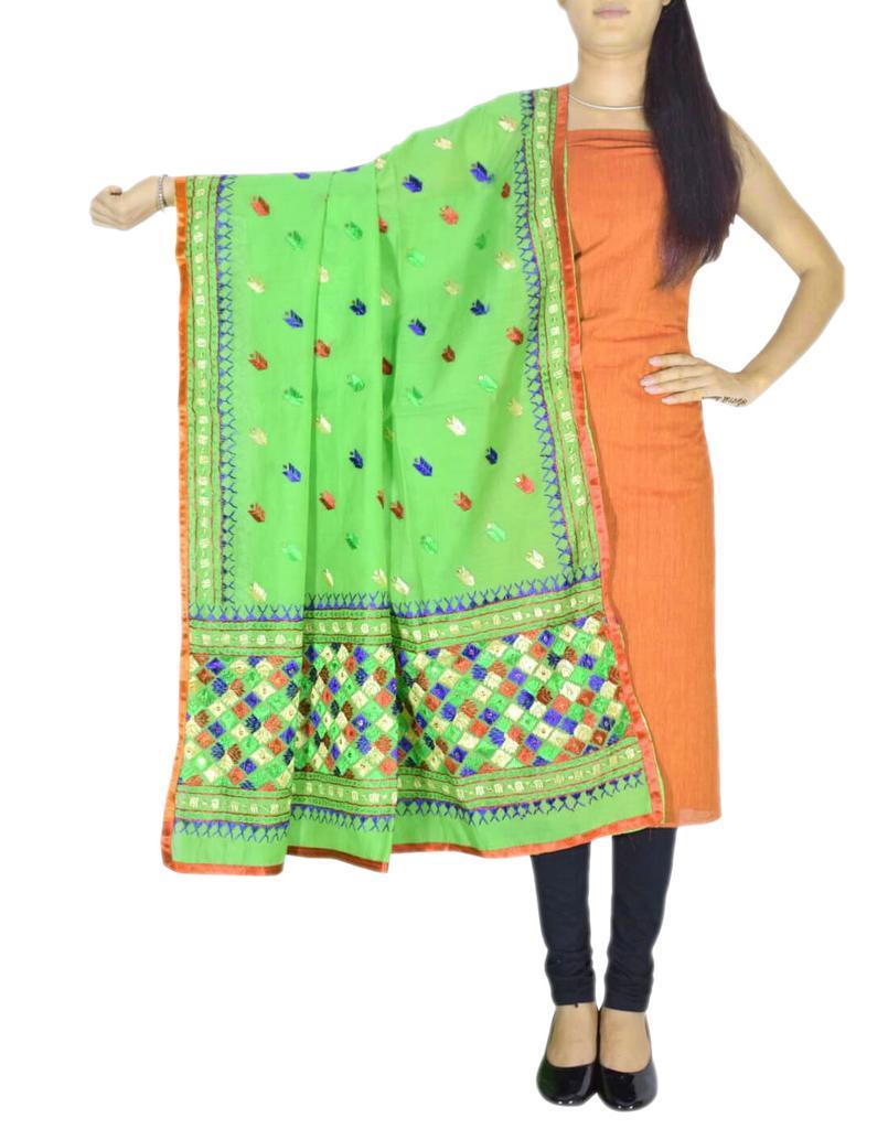 Chanderi Phulkari/Bagh Dupatta & Cotton Kurta Set-Green&Orange