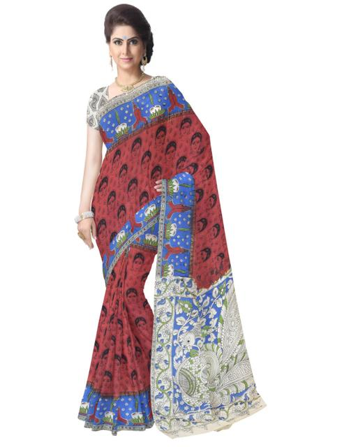 Kalamkari Saree in Cotton-Maroon&Blue