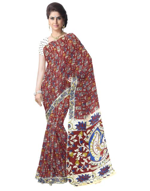 Kalamkari Saree in Cotton-Multicolor 1