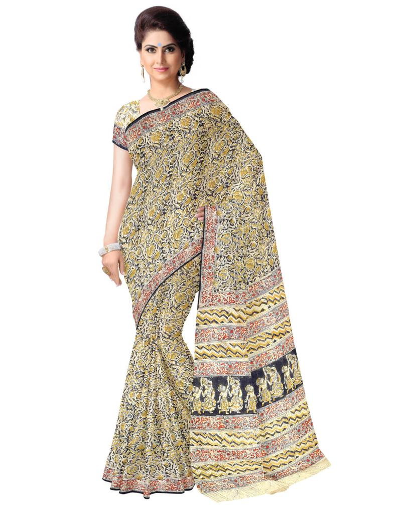 Kalamkari Saree in Cotton-Multicolor 2