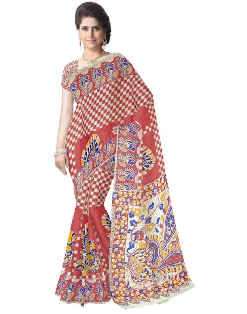 Kalamkari Saree in Cotton-Red