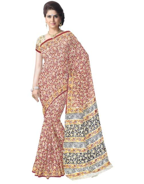 Kalamkari Saree in Cotton-Multicolor 4