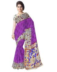Kalamkari Saree in Cotton-Purple 2