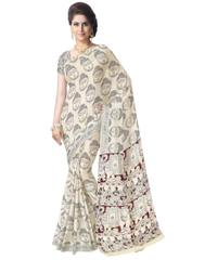 Kalamkari Saree in Cotton-Offwhite