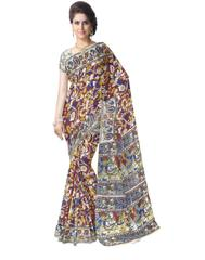 Kalamkari Saree in Cotton-Multicolor 7