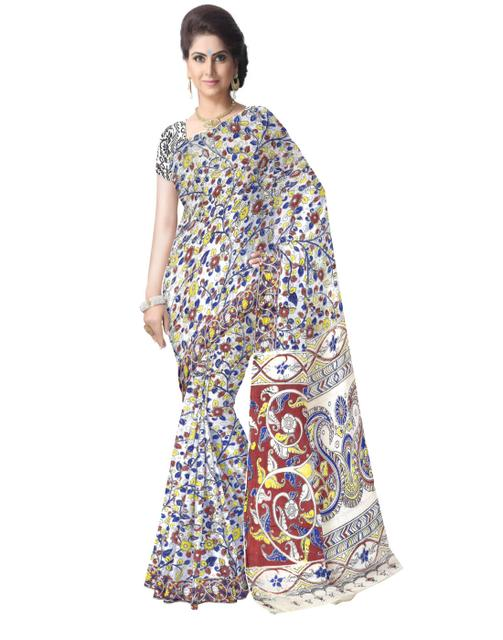 Kalamkari Saree in Cotton-Multicolor 8
