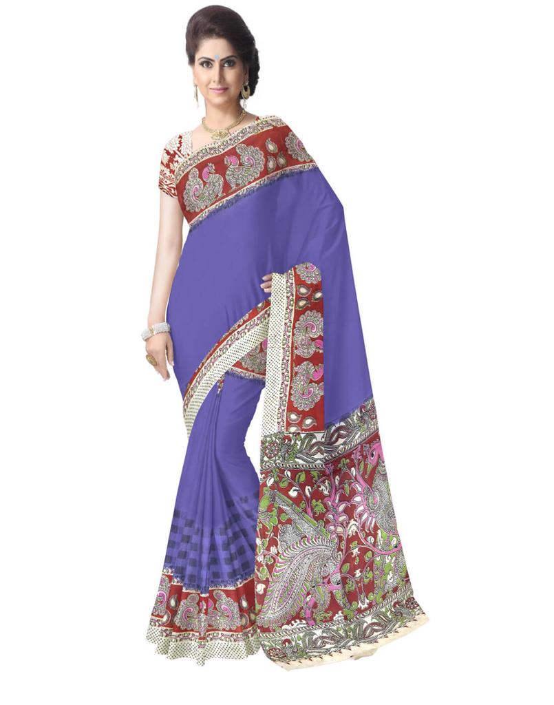 Kalamkari Saree in Cotton-Blue
