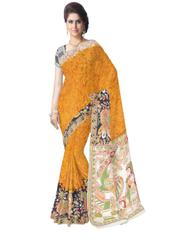 Kalamkari Saree in Cotton-Orange