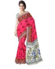 Kalamkari Saree in Cotton-Pink