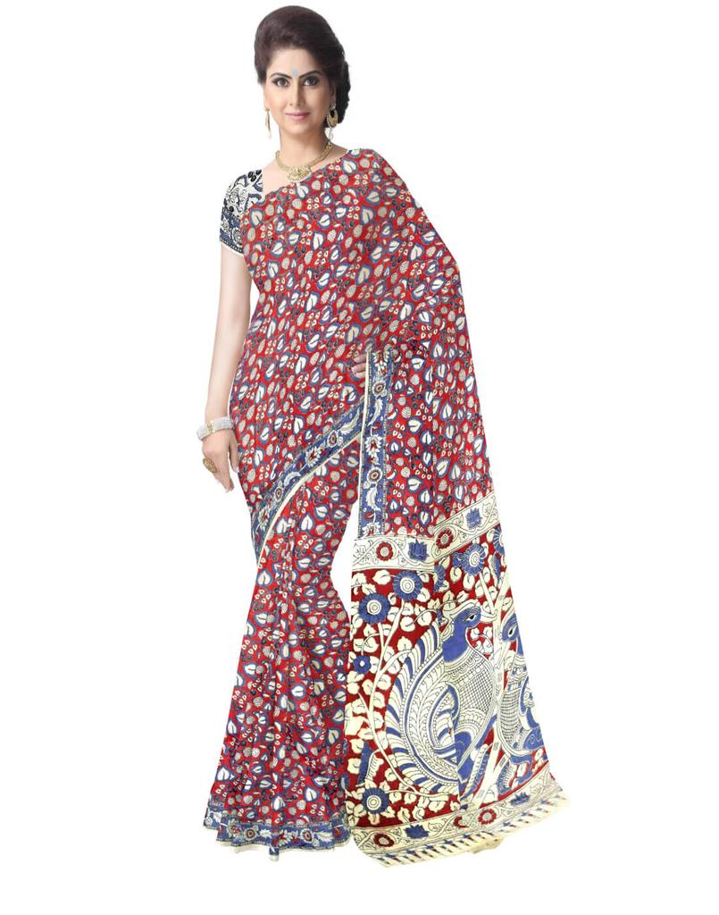 Kalamkari Saree in Cotton-Red&Blue