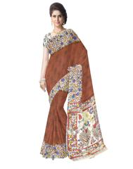 Kalamkari Saree in Cotton-Brown