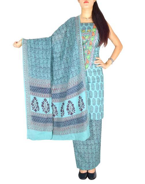 Bagh Print Unstitched Cotton Salwar Suit-Light Blue