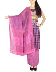 Bagh Print Unstitched Cotton Salwar Suit-Black&Pink
