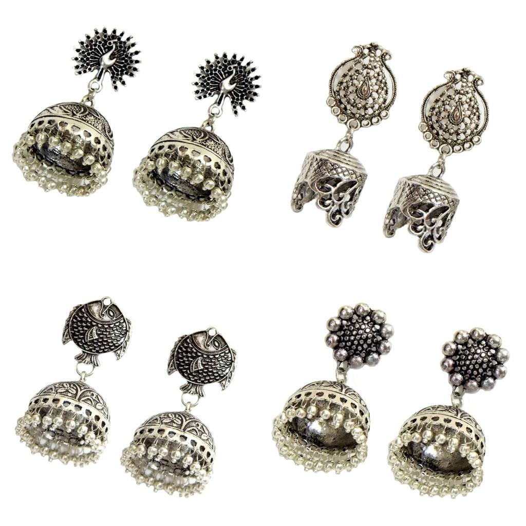Set of 4 German Silver Jhumkas