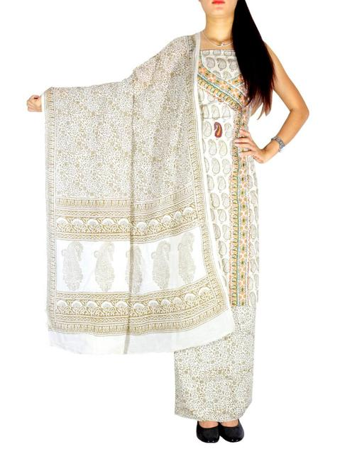Bagh Print Unstitched Cotton Salwar Suit-White