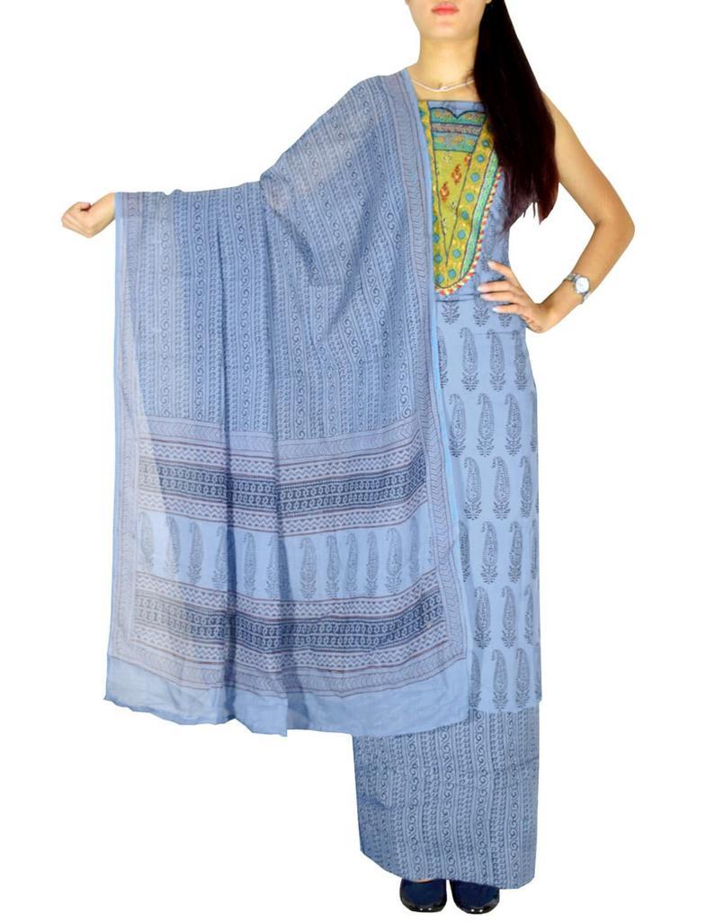 Bagh Print Unstitched Cotton Salwar Suit-Blue