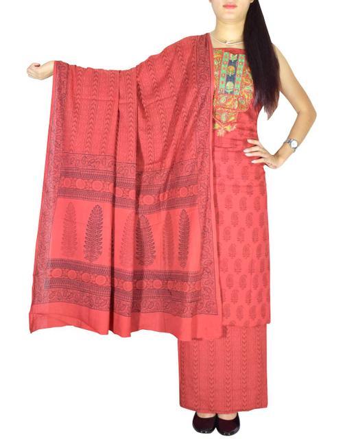 Bagh Print Unstitched Cotton Salwar Suit-Red