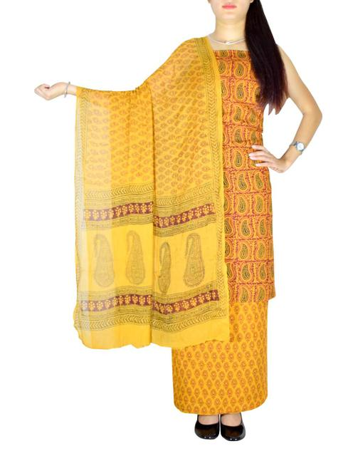 Bagh Print Unstitched Cotton Salwar Suit & Chiffon Dupatta-Mustard Yellow