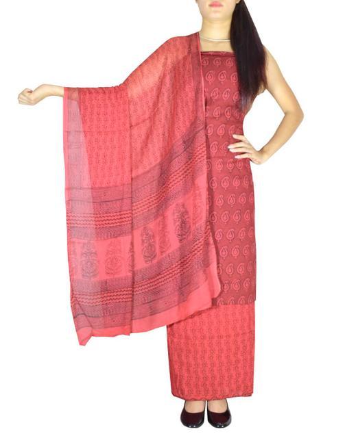 Bagh Print Unstitched Cotton Salwar Suit & Chiffon Dupatta-Maroon