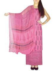 Bagh Print Unstitched Cotton Salwar Suit & Chiffon Dupatta-Pink