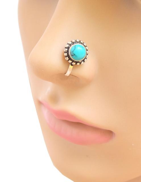 Oxidized Metal Nose Pin - Turquoise Bead