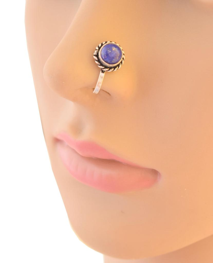 Oxidized Metal Nose Pin - Blue Bead