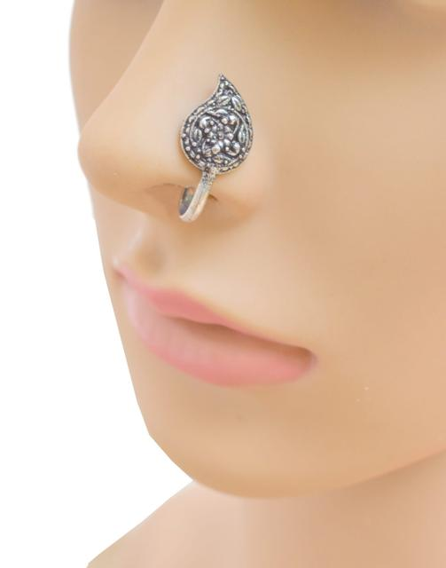 Oxidized Metal Nose Pin - Paisley Shape
