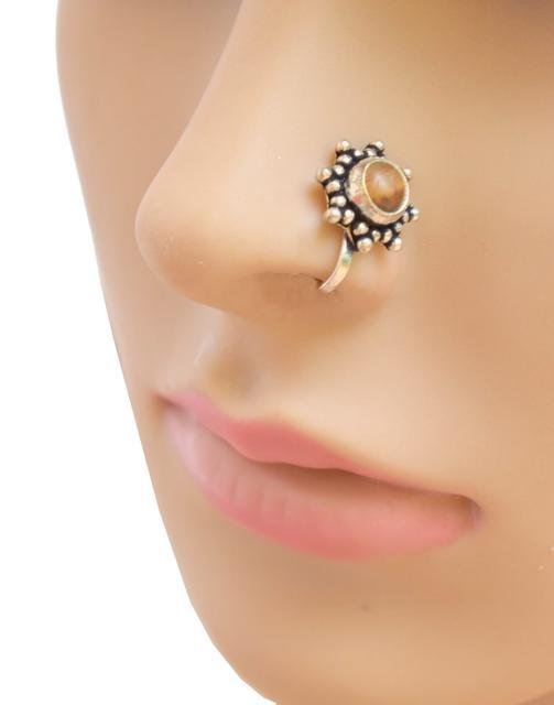 Oxidized Metal Nose Pin - Brown Bead 1