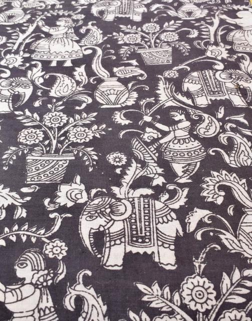 Kalamkari Handblock Print Running Material- Black&White (1 mtr/2.5 mtr)