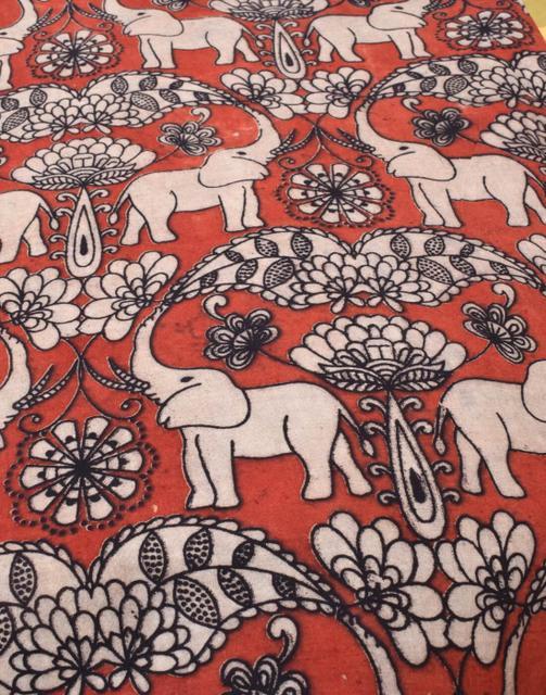 Kalamkari Handblock Print Running Material- Black&Red (1 mtr/2.5 mtr)