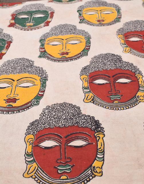Kalamkari Handblock Print Running Material- Pattern 2 (1 mtr/2.5 mtr)