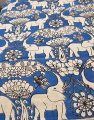 Kalamkari Handblock Print Running Material- Blue&White (1 mtr/2.5 mtr)