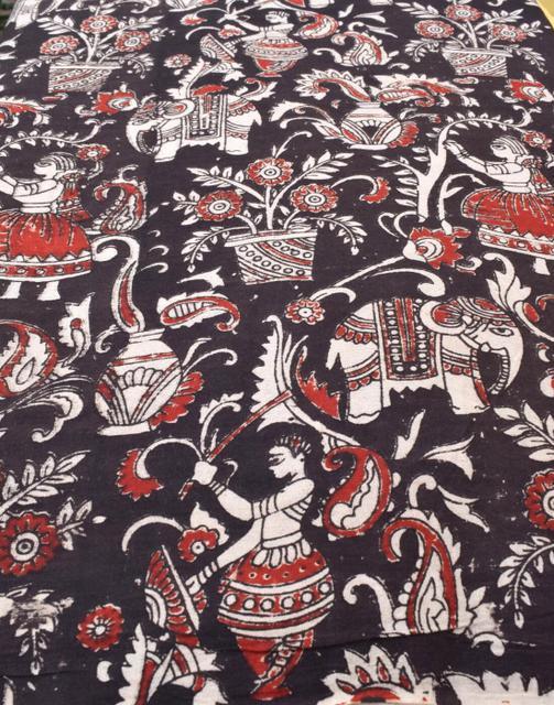 Kalamkari Handblock Print Running Material- Pattern 4 (1 mtr/2.5 mtr)