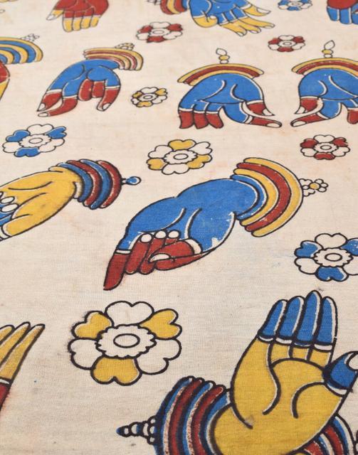 Kalamkari Handblock Print Running Material- Pattern 5 (1 mtr/2.5 mtr)