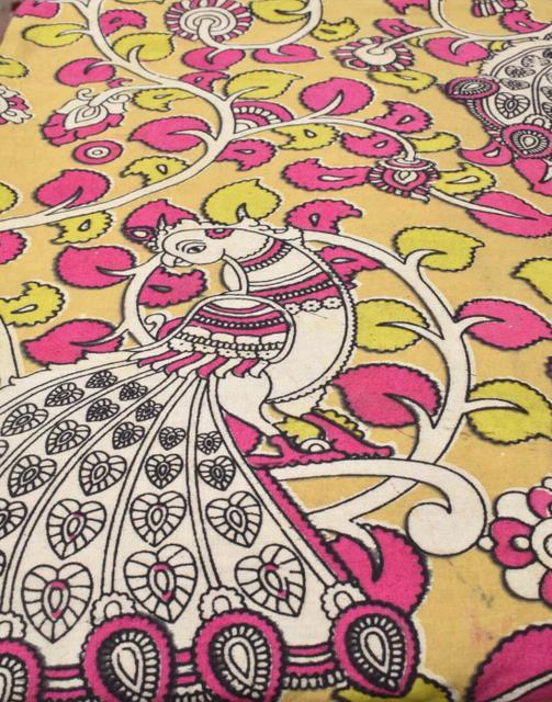 Kalamkari Handblock Print Running Material- Pattern 6 (1 mtr/2.5 mtr)