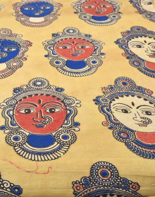 Kalamkari Handblock Print Running Material- Pattern 8 (1 mtr/2.5 mtr)