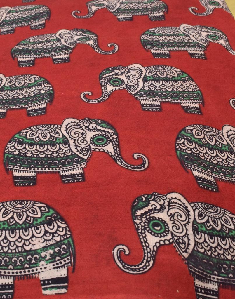 Kalamkari Handblock Print Running Material- Pattern 9 (1 mtr/2.5 mtr)