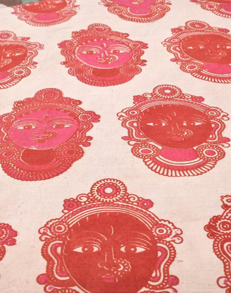 Kalamkari Handblock Print Running Material- Pattern 10 (1 mtr/2.5 mtr)