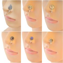 Set of 6 Oxidized Metal Nose Pins
